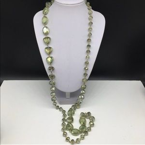 NEW Kenneth Cole Green Faceted Glass Bead Necklace